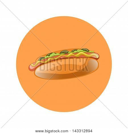 Hot Dog Cartoon Illustration. Classic american fast food - sausage with mustard in a bun. Hotdog sandwich. Vector isolated icon of hot-dog for poster menus brochure web and mobile application.