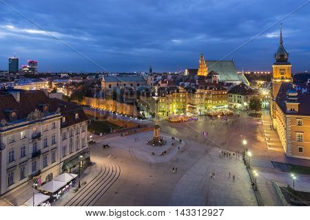 Night view of Royal Castle and Old Town in Warsaw Poland