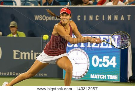 Mason Ohio - August 15 2016: Ana Ivonavic in match against Donna Vekic at the Western and Southern Open in Mason Ohio on August 15 2016.