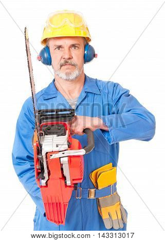 Worker in a uniform with a chainsaw isolated on white background