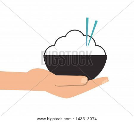 flat design hand holding rice bowl with chopsticks icon vector illustration