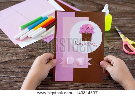 The Child Holds A Birthday Card Handmade Birthday Inscription Is That On His Birthday. Sheets Of Pap