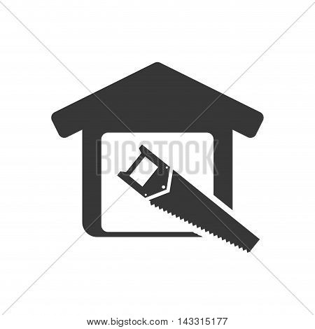 saw tool house home repair construction silhouette icon. Flat and Isolated design. Vector illustration