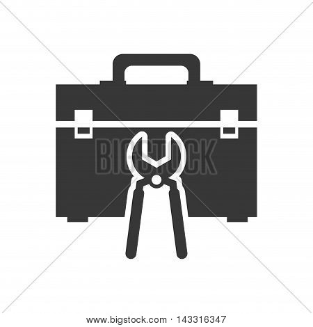 pliers tool kit box repair construction silhouette icon. Flat and Isolated design. Vector illustration