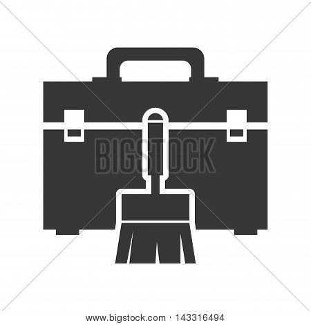 paint tool kit box repair construction silhouette icon. Flat and Isolated design. Vector illustration