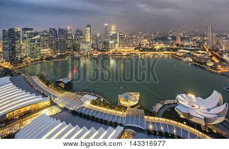 Night view of Singapore's famous downtown, Asia