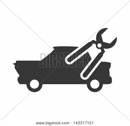 pliers tool repair car automobile silhouette icon. Flat and Isolated design. Vector illustration
