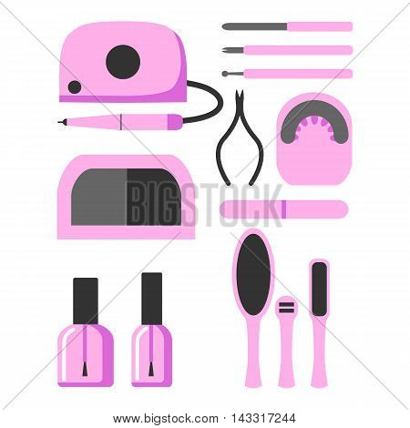 A set of tools and equipment for manicure. Accessories for a beauty salon. Flat design. Isolated icons on white background. Vector illustration.
