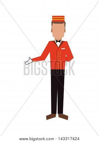 flat design bellboy or bellhop icon vector illustration