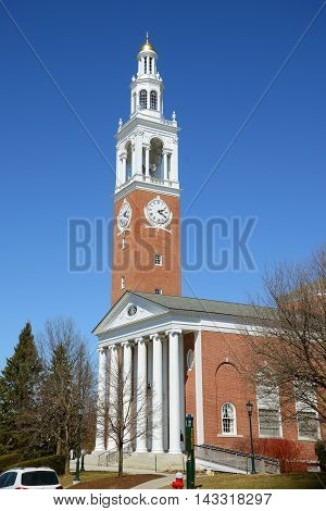 Ira Allen Chapel in University of Vermont (UVM), Burlington, Vermont, USA.