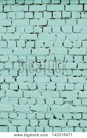 Background of a blue painted brick wall