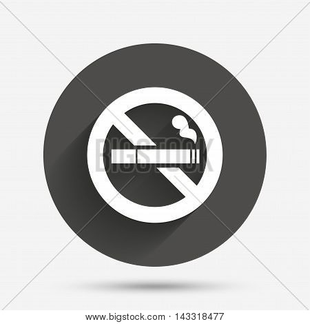 No Smoking sign icon. Cigarette symbol. Circle flat button with shadow. Vector