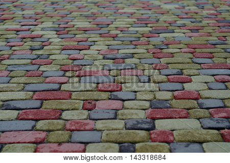 Cobbled Pavement Pattern Made Of Granite Cubes.