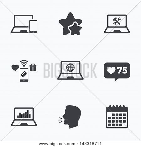Notebook laptop pc icons. Internet globe sign. Repair fix service symbol. Monitoring graph chart. Flat talking head, calendar icons. Stars, like counter icons. Vector