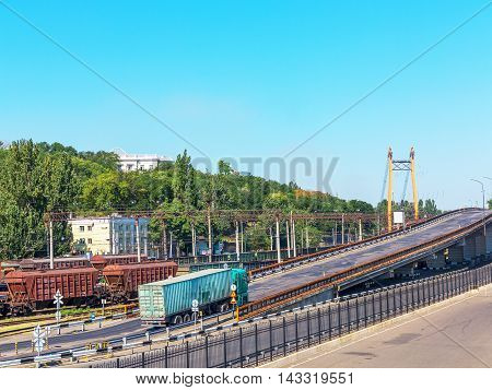 Odessa, Ukraine August 15, 2016: Transport Cars And Railway Junction In The Guiding Commercial Port
