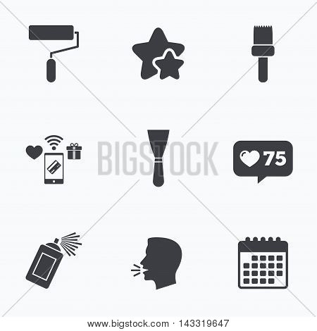 Paint roller, brush icons. Spray can and Spatula signs. Wall repair tool and painting symbol. Flat talking head, calendar icons. Stars, like counter icons. Vector