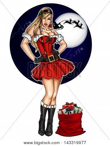 Illustration of pin up dressed up for Christmas festivity on a sky background