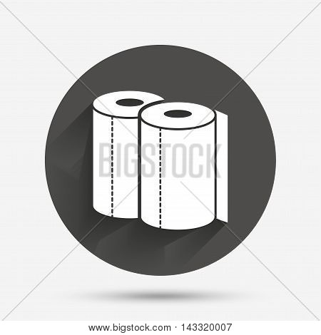 Paper towels sign icon. Kitchen roll symbol. Circle flat button with shadow. Vector