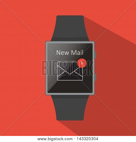 Smart watch with new mail icon, flat concept with long shadow.Cartoon style. Vector illustration. Red background.