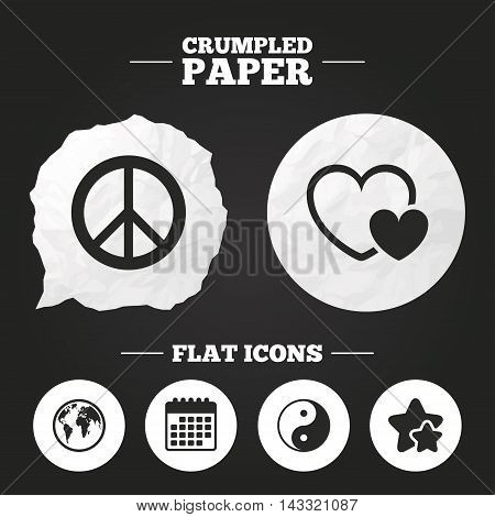 Crumpled paper speech bubble. World globe icon. Ying yang sign. Hearts love sign. Peace hope. Harmony and balance symbol. Paper button. Vector