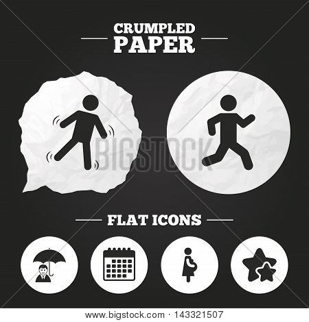Crumpled paper speech bubble. Businessman with umbrella icon. Human running symbol. Man love Woman or Lovers sign. Women Pregnancy. Life insurance. Paper button. Vector
