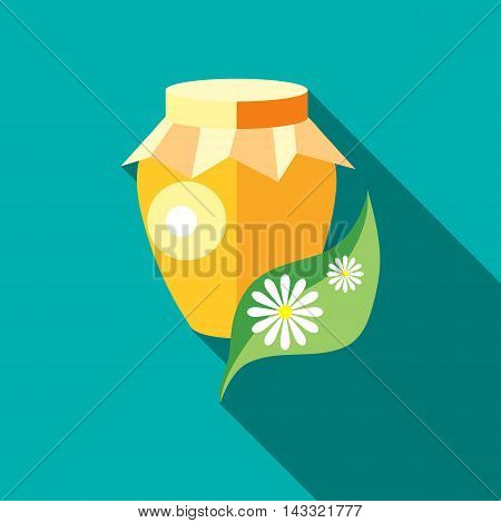 Jug with honey icon in flat style with long shadow. Food symbol