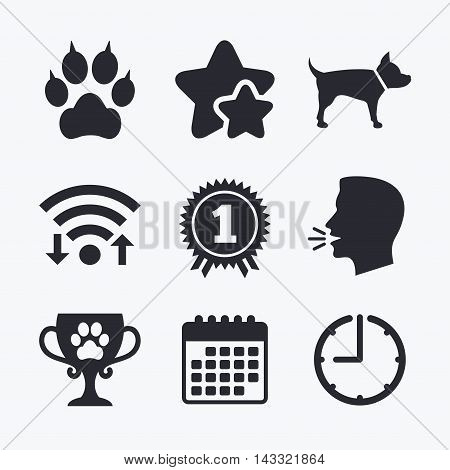 Pets icons. Cat paw with clutches sign. Winner cup and medal symbol. Dog silhouette. Wifi internet, favorite stars, calendar and clock. Talking head. Vector