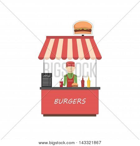 Street shop burgers . Fast food kiosk in flat style. Man sells hamburgers. Vector illustration