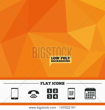 Triangular low poly orange background. Phone icons. Smartphone with Qr code sign. Call center support symbol. Cellphone keyboard symbol. Calendar flat icon. Vector