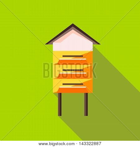 Beehive icon in flat style with long shadow. Bee house symbol