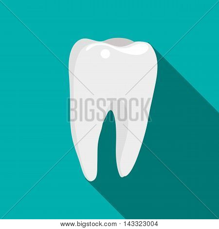 Tooth icon in flat style with long shadow. Dentistry symbol