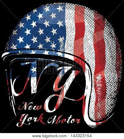 Motorcycle Helmet with American flag . Vector graphic for t shirt