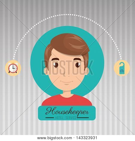 housekeeper man service icon vector illustration design