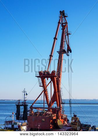 Odessa, Ukraine - August 15, 2016: Container Cranes In Cargo Port Terminal, Cargo Cranes Without Job