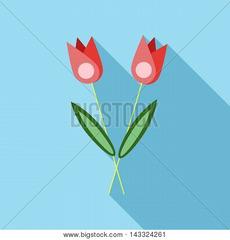 Two flowers on grave icon in flat style with long shadow. Death symbol