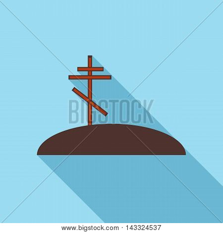 Grave with cross icon in flat style with long shadow. Death symbol