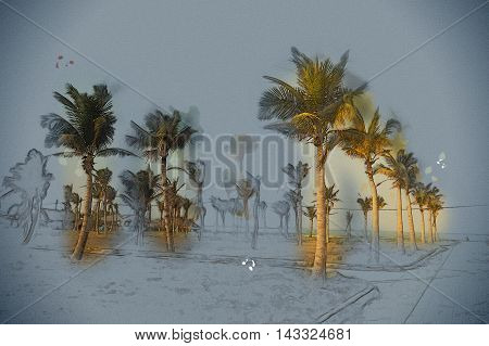 Palms against blue sky on a beach. Vintage painting, background illustration, beautiful picture, travel texture