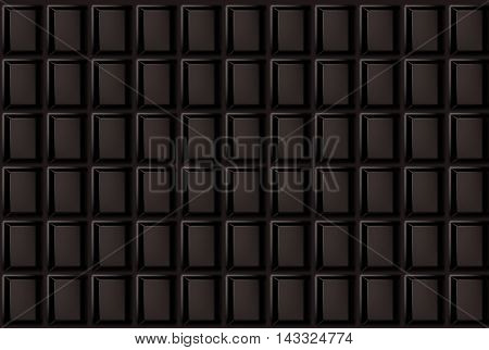 Background of vector dark chocolate bar. Realistic illustration