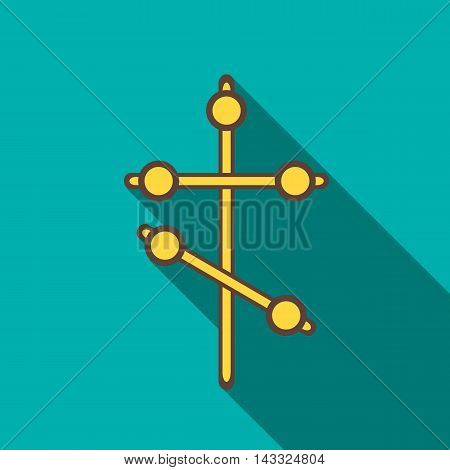 Cross icon in flat style with long shadow. Death symbol