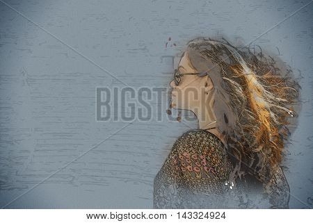 girl in sunglasses at sunset in Aspendos amphitheatre, Antalya, Turkey. Modern painting, background illustration.
