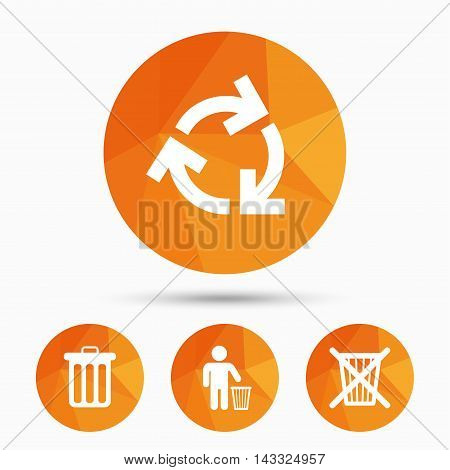 Recycle bin icons. Reuse or reduce symbols. Human throw in trash can. Recycling signs. Triangular low poly buttons with shadow. Vector