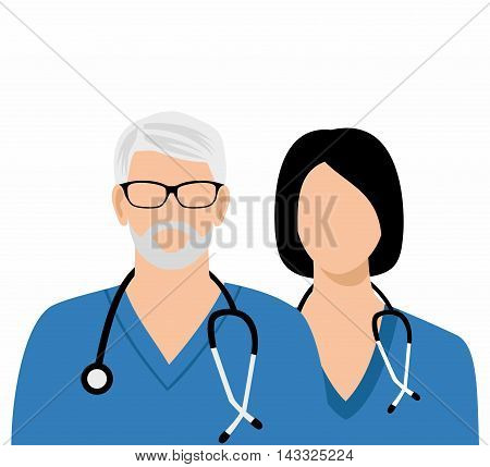 The gray-haired doctor in glasses and Woman doctor with a stethoscope