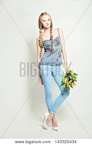 Woman Fashion Model wearing Corset with flowers