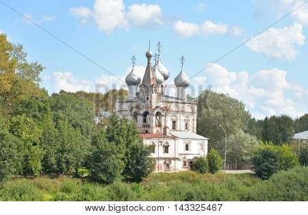 Church of St. John Chrysostom with bell tower in Vologda Russia.
