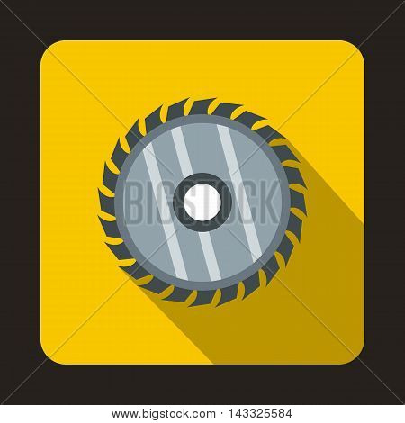 Drive for saw icon in flat style with long shadow. Cutting symbol