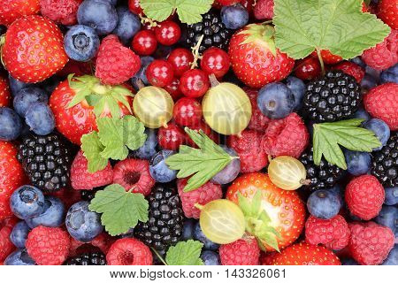 Berry Fruits Berries Collection Strawberries, Blueberries Raspberries Leaves Top View
