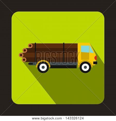 Logging truck logs icon in flat style with long shadow. Felling symbol