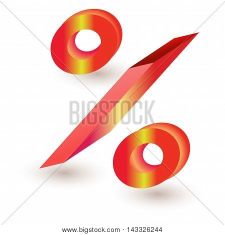 three dimensional percent sign red finance isolated