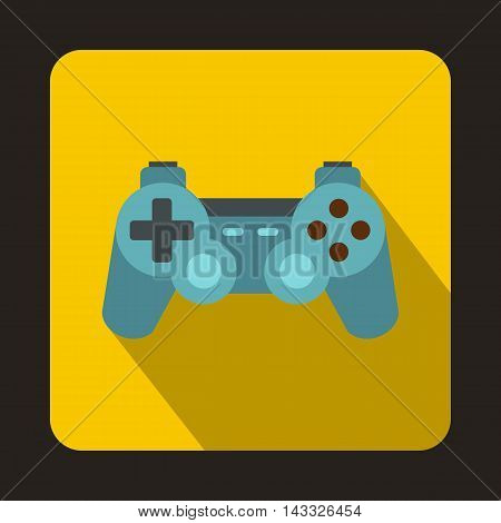 Game joystick icon in flat style with long shadow. Play symbol