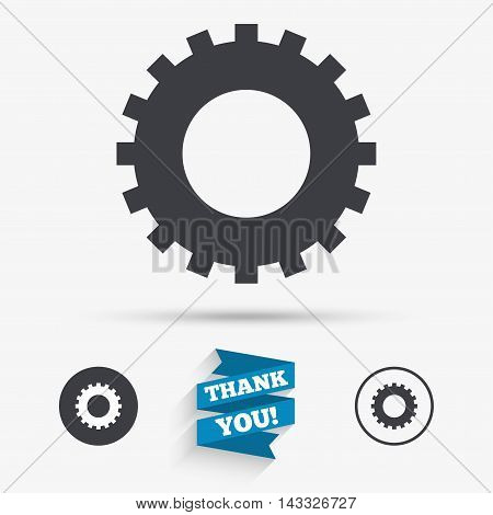 Cog settings sign icon. Cogwheel gear mechanism symbol. Flat icons. Buttons with icons. Thank you ribbon. Vector